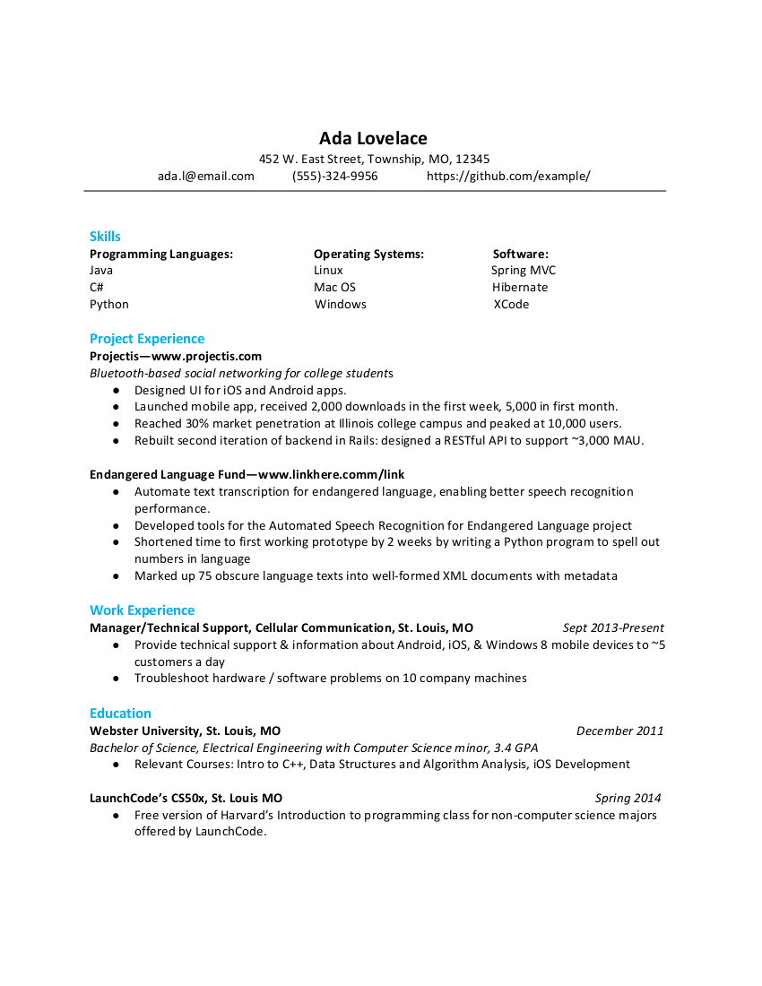 Technical Resumes Launchcode Career Readiness Documentation